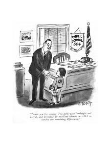 """""""Thank you for coming. The talks were forthright and useful, and provided ?"""" - New Yorker Cartoon by Barney Tobey"""