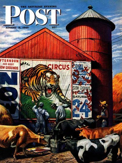 """""""Barnside Circus Poster,"""" Saturday Evening Post Cover, August 4, 1945-Stevan Dohanos-Giclee Print"""