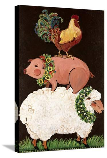 Barnyard Friends-Suzanne Etienne-Stretched Canvas Print