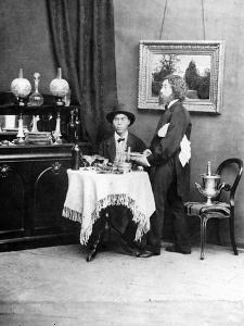 Japanese Diner and Waiter in Western Dress, C.1879 by Baron Raimund von Stillfried
