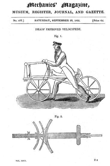 Baron Von Drais's Bicycle (Draisienn), Exhibited Paris 1818-Baron von Drais-Giclee Print