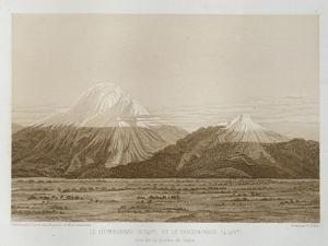 T.1593 Mt. Chimborazo and Mt. Carguairazo, Drawn by Hildebrandt after a Sketch by Humboldt,… by Baron Von Humboldt Friedrich Alexander