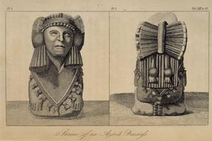 T.1596 Statue of an Aztec Priestess, Front and Back View, from Vol I of 'Researches Concerning… by Baron Von Humboldt Friedrich Alexander