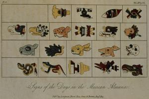 T.1602 Signs of the Days in the Mexican Almanac, from Vol II of 'Researches Concerning the… by Baron Von Humboldt Friedrich Alexander