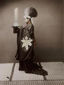 A Shinto Priest Offering Sake to the Kami, 1880 by Baron Von Raimund Stillfried