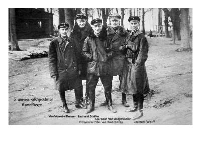 Baron Von Richthofen with Fellow Pilots, Including His Brother Lothar-German photographer-Premium Giclee Print