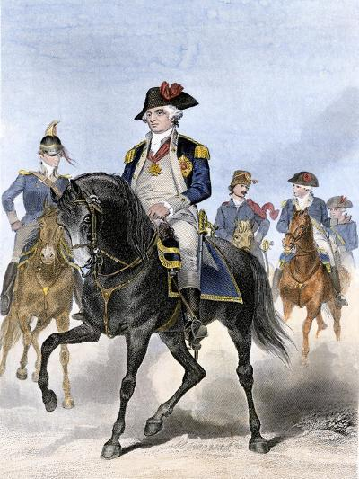Baron Von Steuben on Horseback with Other Continental Army Officers at Valley Forge--Giclee Print