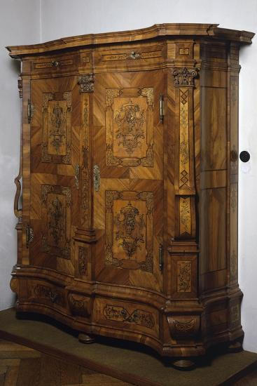 Baroque-Rococo Style Wardrobe with Walnut, Maple and Rosewood Veneer Finish, Austria--Giclee Print