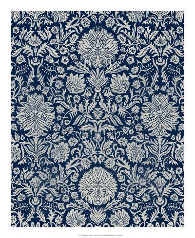 Baroque Tapestry in Navy II-Vision Studio-Giclee Print