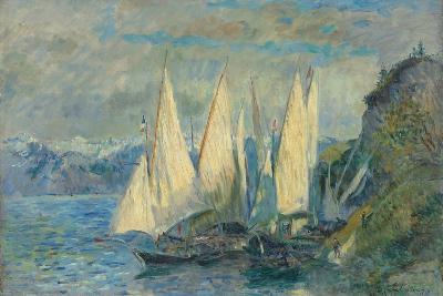 Barques Aux Grandes Voiles Sur Le Lac L?man ? Meillerie En Haute-Savoie-Albert Lebourg-Giclee Print