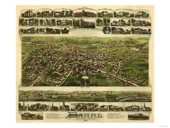Barre, Massachusetts - Panoramic Map-Lantern Press-Art Print