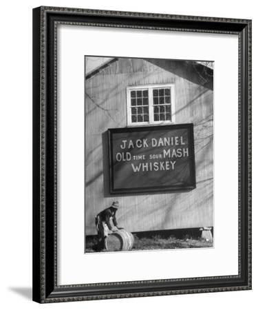 Barrel Being Rolled to Warehouse at Jack Daniels Distillery-Ed Clark-Framed Premium Photographic Print