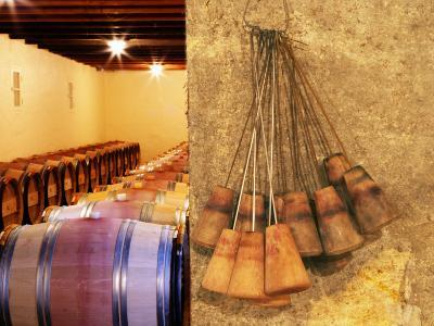 Barrel Cellar for Aging Wines in Oak Casks, Chateau La Grave Figeac, Bordeaux, France-Per Karlsson-Photographic Print