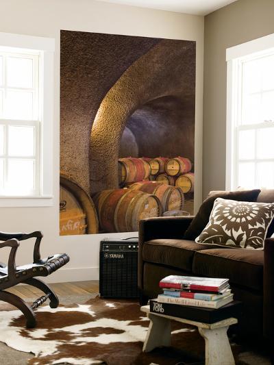 Barrels in Cellar at Long Meadow Ranch Winery, Ruthford, Napa Valley, California, USA-Janis Miglavs-Giant Art Print