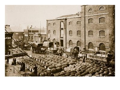Barrels of Molasses in the West India Docks-English Photographer-Giclee Print