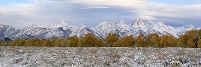 The Grand Teton Mountain Range Covered in Snow During the Fall