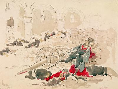 Barricade on the Rue De Rivoli During the Paris Commune, 1871-Daniel Urrabieta Vierge-Giclee Print