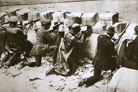 Barricades on a street, German Revolution, Berlin, Germany, c1918-c1919-Unknown-Photographic Print