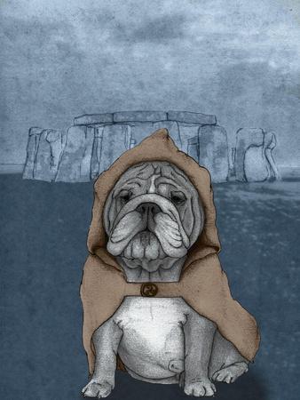 English Bulldog with Stonehenge