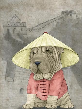 Shar Pei with the Great Wall by Barruf