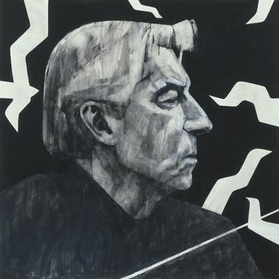 Portrait of Herbert von Karajan, illustration for 'The Sunday Times', 1970s