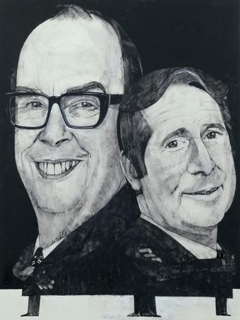 Portrait of Morecambe and Wise, illustration for 'The Listener', 1970s