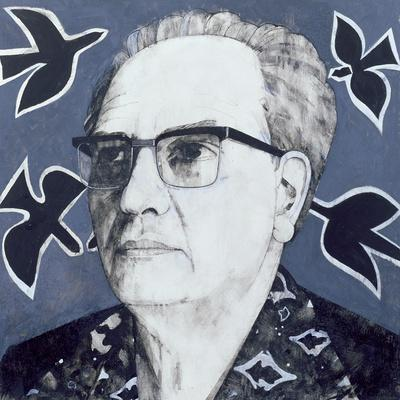 Portrait of Olivier Messiaen, Illustration for 'The Sunday Times', 1970s