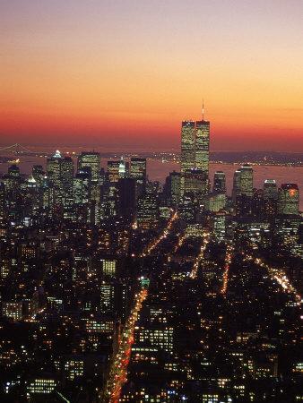 Aerial of Midtown NYC at Dusk, NY