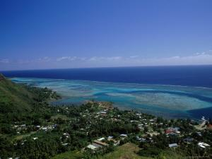 Aerial View of Moorea Showing Village and Reefs by Barry Winiker