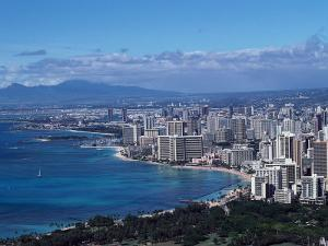 Aerial View of Oahu, Honolulu, HI by Barry Winiker