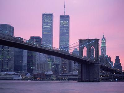 Brooklyn Bridge, Twin Towers, NYC, NY by Barry Winiker