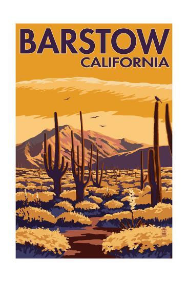 Barstow, California - Desert Scene with Cactus-Lantern Press-Art Print
