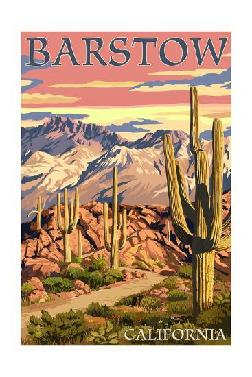 Barstow, California - Desert Sunset-Lantern Press-Art Print