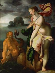 Glaucus and Scylla,lesser sea-god and former fisherman, falls in love with Scylla. by Bartholomaeus Spranger