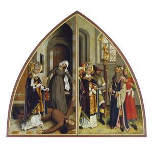 Der Hl.Valentin Heilt Den Fallsuechtigen Und Verweigert Den Goetzendienst by Bartholomaüs Zeitblom