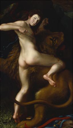 Cupid Taming a Lion by Bartholomaus Spranger (Follower of)