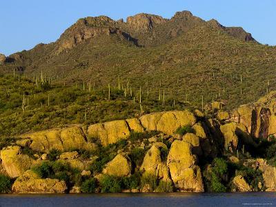 Bartlett Lake, Rock Formations and Saguaro Cacti-Raul Touzon-Photographic Print