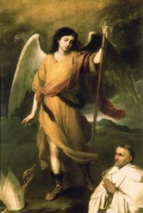 Archangel Raphael with Bishop Domonte by Bartolome Esteban Murillo