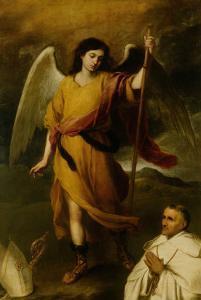 The Archangel Raphael with Bishop Domonte by Bartolome Esteban Murillo