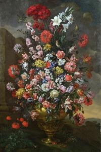 Lilies, Tulips, Carnations, Peonies, Convolvuli and Other Flowers in a Bronze Urn, 1718 by Bartolomeo Bimbi