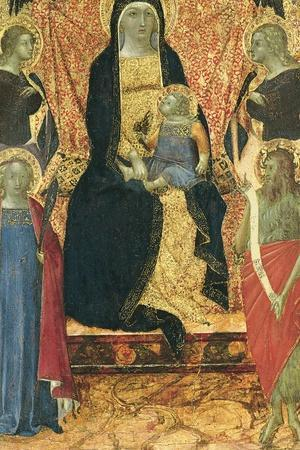 The Virgin and Child Enthroned Between Four Angels and Saints