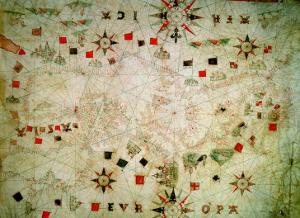 Miniature Nautical Map of the Mediterranean, 1584 by Bartolomeo Olives