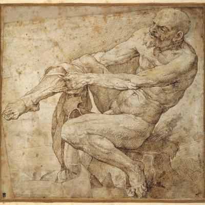 Naked Man Pulling on His Hose, after Marcantonio Raimondi and Michelangelo Buonarroti