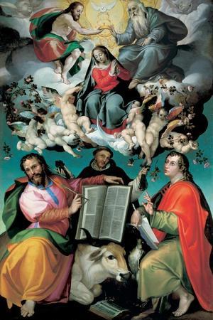 The Coronation of the Virgin with Saints Luke, Dominic, and John the Evangelist, C.1580