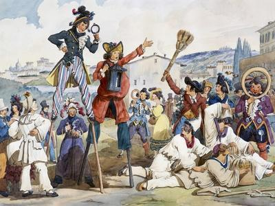 Carnival in Rome, by Bartolomeo Pinelli (1781-1835), Italy, 19th Century