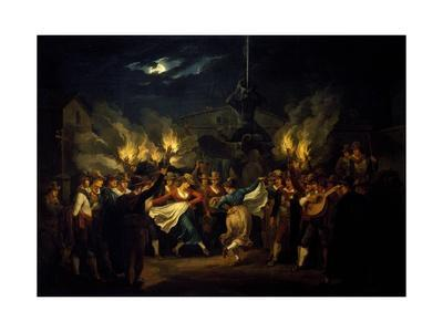Nocturnal Dance in Piazza Barberini after Harvest