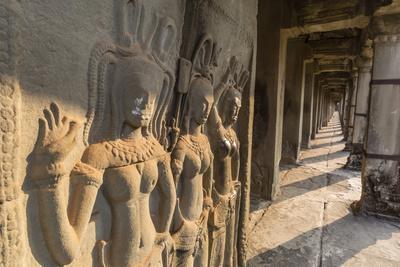 Bas-Relief Carvings of Apsara, Angkor Wat, Angkor, UNESCO World Heritage Site, Siem Reap, Cambodia-Michael Nolan-Photographic Print