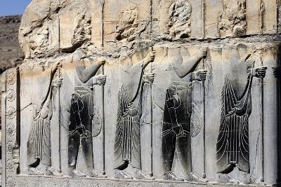 Bas-Relief of Persian Guards on a Wall in Persepolis-Babak Tafreshi-Photographic Print