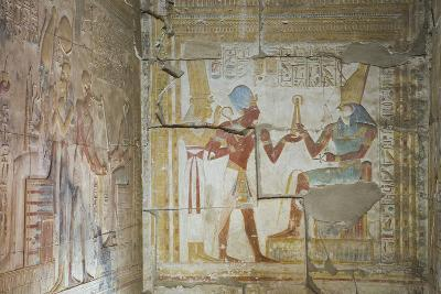Bas Relief of Pharaoh Seti I Making an Offering to the Seated God Horus on Right-Richard Maschmeyer-Photographic Print