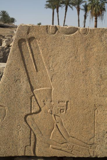 Bas-Relief of the God Amun, Karnak Temple, Luxor, Thebes, Egypt, North Africa, Africa-Richard Maschmeyer-Photographic Print